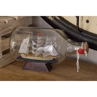 Carbon Loft Lippershey Glass Ship In a Bottle (11'' x 6'')