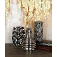 Havenside Home Buckroe 3-piece Silver-tone Ceramic Vase Set