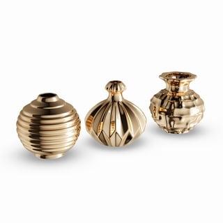 Strick & Bolton Tatum 3-piece Gold Ceramic Vase Pack