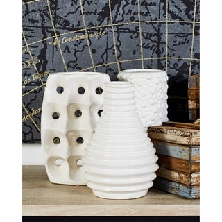 Modern White Ceramic Vases with Knotted and Ridged Finishes Set of 3