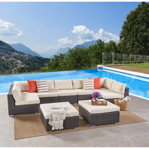 Santa Rosa Outdoor 7 Seater Wicker Sectional Sofa Set by Christopher Knight Home