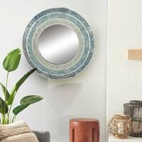 Carson Carrington Andalsnes 30-inch Wood Blue Mosaic Wall Mirror