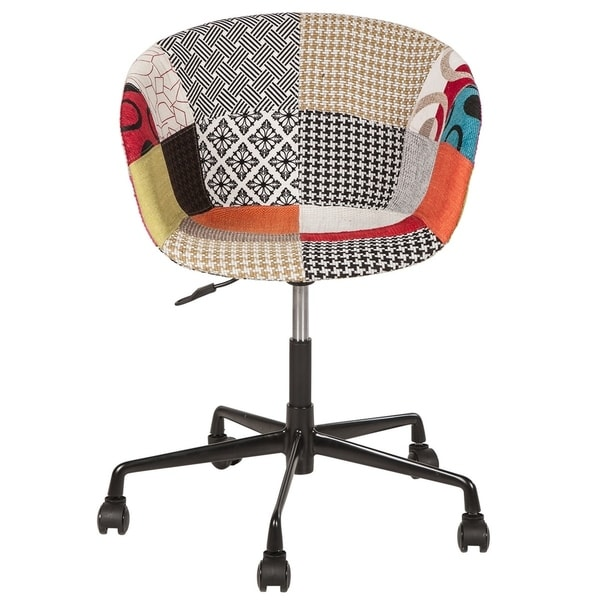 office chair fabric upholstery. Beautiful Office Danish MidCentury Modern Multicolor Patch Fabric Upholstery Office Chair Throughout