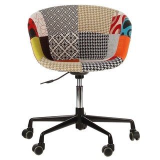 Danish Mid-Century Modern Multicolor Patch Fabric Upholstery Office Chair