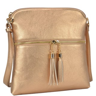 Dasein Fashion All-In-One Front Decorative Tassel Zipper Pull Crossbody Handbag (Option: rose gold)
