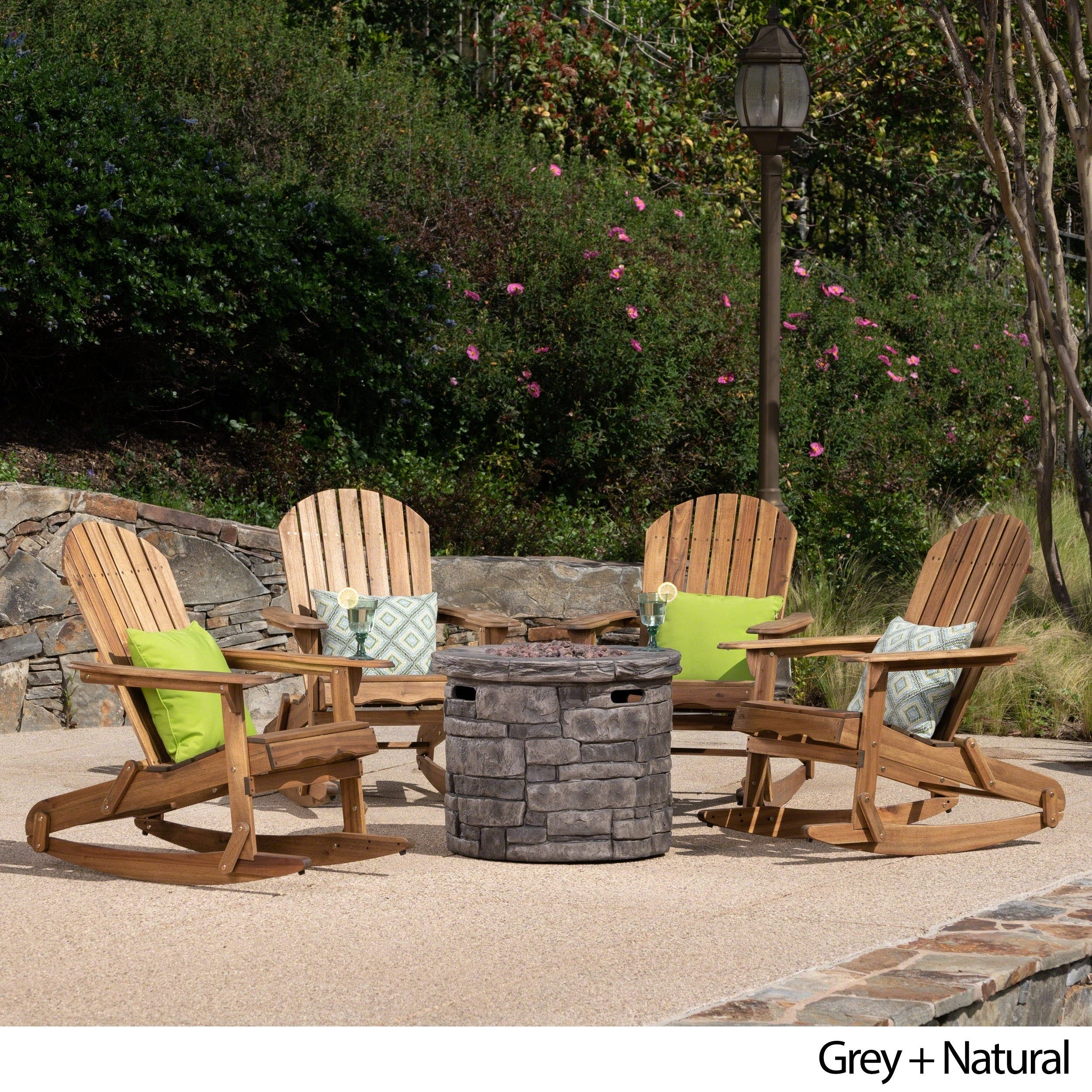 Beau Maison Outdoor 5 Piece Adirondack Rocking Chair Set With Fire Pit By  Christopher Knight Home