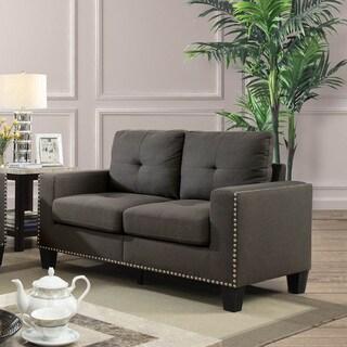 Furniture of America Anne Grey Linen Nailhead Loveseat