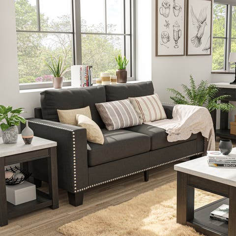 Anne Transitional Grey Nailhead Sofa by FOA