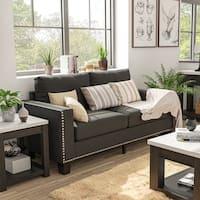 Furniture of America Anne Grey Linen Nailhead Sofa