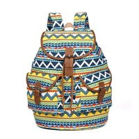 Hearty Trendy Cotton Canvas Multi-Color Geometric Double Pocket Backpack