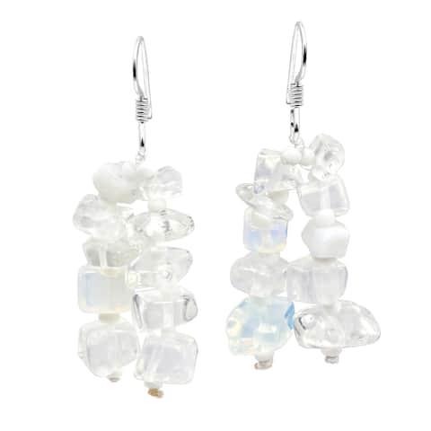 Handmade Sweet Cluster of Stone Beads Dangle Earrings (Thailand)