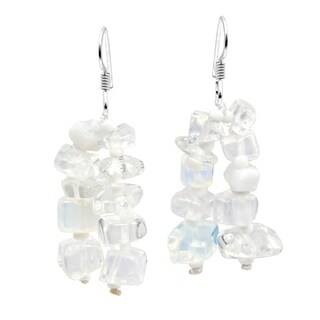 Handmade Sweet Cluster of Stone Beads Dangle Earrings (Thailand)