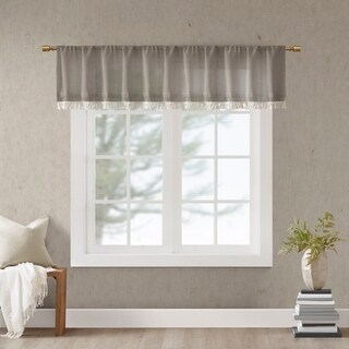 Madison Park Eira 50x18 Faux Linen Rod Pocket Window Valance (3 options available)