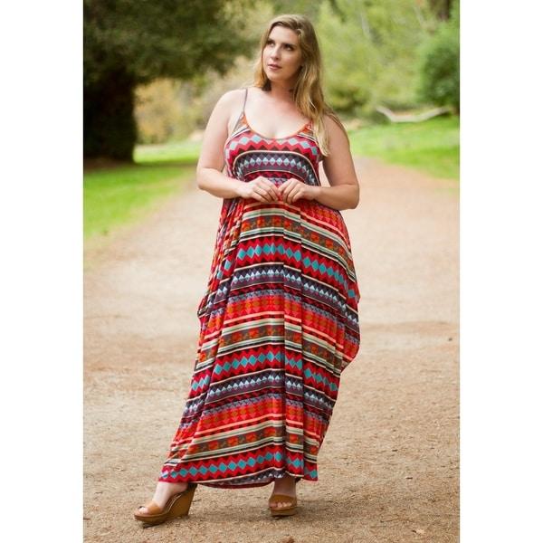 Shop Womens Plus Size Bohamian Style Sleeveless Scoop Neck Maxi