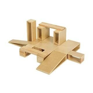 ECR4Kids Wooden Hollow Blocks, 18-Piece Set