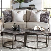Chevron Grey Wood/Metal Hexagon Coffee Table