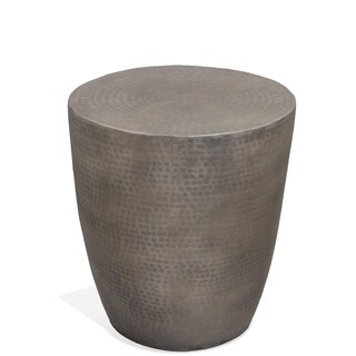 Nadene Drum Grey Hardwood Aluminum Side Table