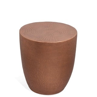 Nadene Aluminum-wrapped Hardwood Drum Side Table