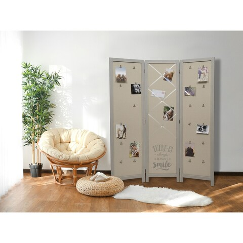 51x61 3 Panel Distressed Grey Room Divider with Fabric Panel and Clips