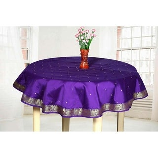 Beau Purple   Handmade Sari Tablecloth (India)   Round