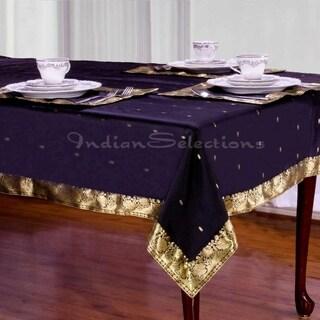 Black - Handmade Sari Tablecloth (India) (More options available)