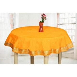 Orange - Handmade Sari Tablecloth (India) - Round