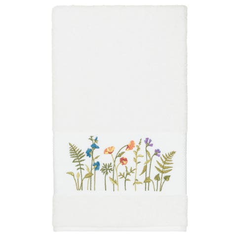 Authentic Hotel and Spa White Turkish Cotton Wildflowers Embroidered Bath Towel