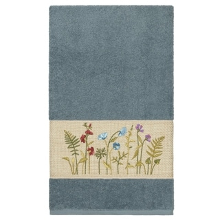 Link to Authentic Hotel and Spa Teal Blue Turkish Cotton Wildflowers Embroidered Bath Towel Similar Items in Towels
