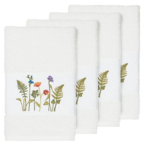 Authentic Hotel and Spa White Turkish Cotton Wildflowers Embroidered Hand Towels (Set of 4)
