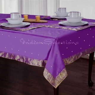 Lavender - Handmade Sari Tablecloth (India)