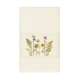 Link to Authentic Hotel and Spa Cream Turkish Cotton Wildflowers Embroidered Hand Towel Similar Items in Towels