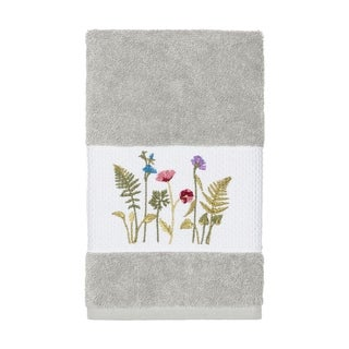Authentic Hotel and Spa Grey Turkish Cotton Wildflowers Embroidered Hand Towel