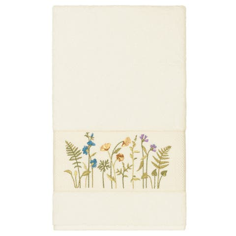 Authentic Hotel and Spa Cream Turkish Cotton Wildflowers Embroidered Bath Towel