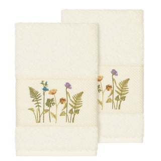 Authentic Hotel and Spa Cream Turkish Cotton Wildflowers Embroidered Hand Towels (Set of 2)