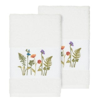Authentic Hotel and Spa White Turkish Cotton Wildflowers Embroidered Hand Towels (Set of 2)