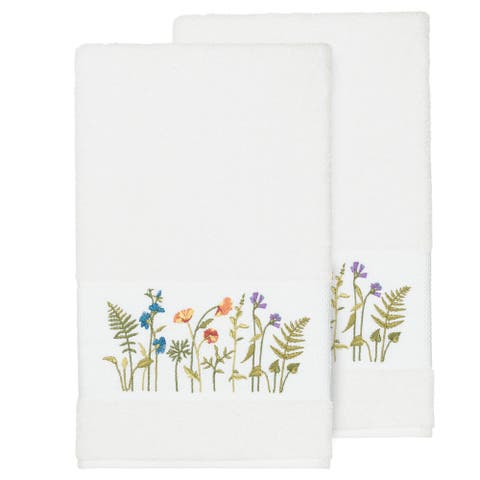 Authentic Hotel and Spa White Turkish Cotton Wildflowers Embroidered Bath Towels (Set of 2)
