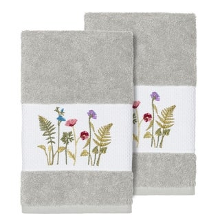 Authentic Hotel and Spa Grey Turkish Cotton Wildflowers Embroidered Hand Towels (Set of 2)