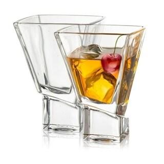JoyJolt Carre Square Martini Glasses, Set of 2 8-Ounce Cocktail Glasses