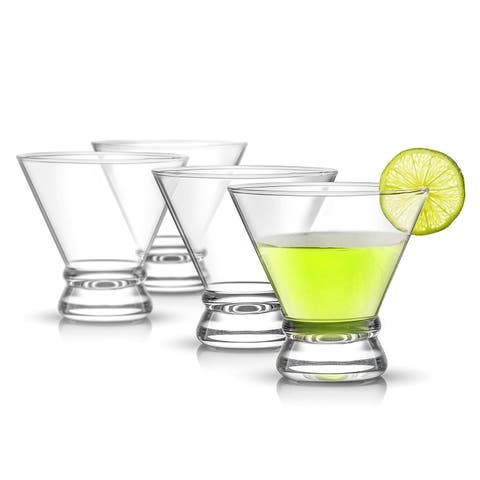 JoyJolt Afina Stemless Martini Glasses, 8 oz Cocktail Glasses Set of 4