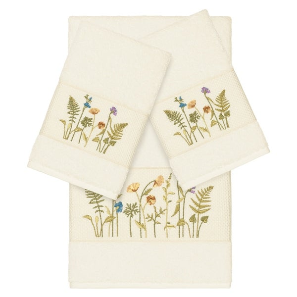Authentic Hotel and Spa Cream Turkish Cotton Wildflowers Embroidered 3 piece Towel Set