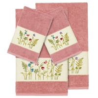Authentic Hotel and Spa Rose Turkish Cotton Wildflowers Embroidered 4 piece Towel Set