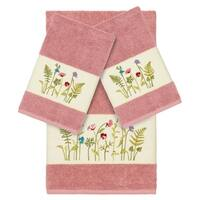 Authentic Hotel and Spa Rose Turkish Cotton Wildflowers Embroidered 3 piece Towel Set