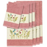 Authentic Hotel and Spa Rose Turkish Cotton Wildflowers Embroidered 8 piece Towel Set