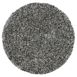 Rizzy Home Midwood Black Solid Round Area Rug - 3' x 3'