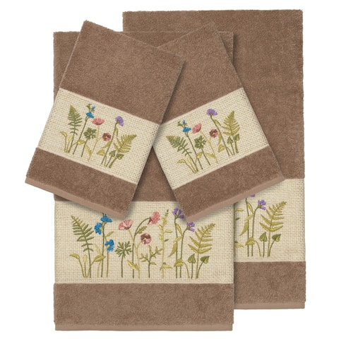Authentic Hotel and Spa Brown Turkish Cotton Wildflowers Embroidered 4 piece Towel Set
