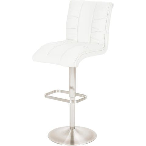 MIX Brushed Stainless Steel Swivel Adjustable Height Faux Leather High Back Bar Stool With Round Trumpet Base