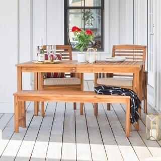 Acacia Wood Simple Patio 4-Piece Dining Set