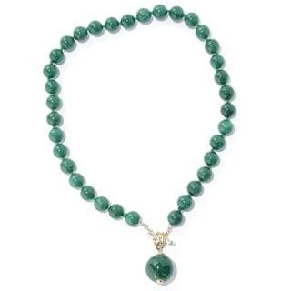 Michael Valitutti Palladium Silver Green Color Dyed Quartz Bead Toggle Necklace w/ Drop Charm