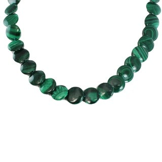 Michael Valitutti Palladium Silver Malachite Disk Bead Toggle Necklace