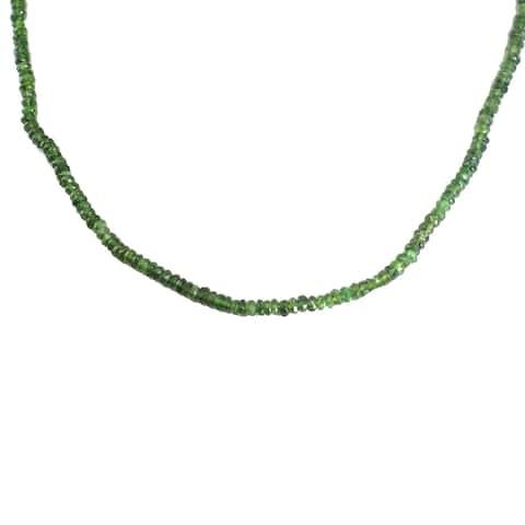 Gems en Vogue Palladium Silver Green Tourmaline Roundelle Bead Toggle Necklace